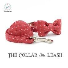 Sandía rojo collar y correa conjunto con pajarita personal custom ajustable algodón collar de perro y gato y perro mascota pupply correa
