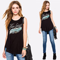 New European and American fashion feather letter printed round neck T-shirt loose sleeveless Women Tops irregular T shirt Z2436
