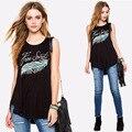 Nova moda Europeus e Americanos carta pena impresso T-shirt em torno do pescoço sem mangas soltas Mulheres Tops camisa irregular T Z2436