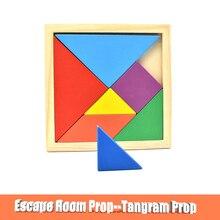 Accesorio de Escape de la habitación Tangram, accesorios para controlar, cierre magnético de 12V, juego de sala de estar, rompecabezas