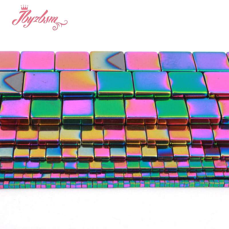 Beads & Jewelry Making Jewelry & Accessories 1,2,3,4,6,10mm Cube Square Multicolor Hematite Bead Natural Stone Beads For Diy Necklace Jewelry Making Strand 15 Free Shipping