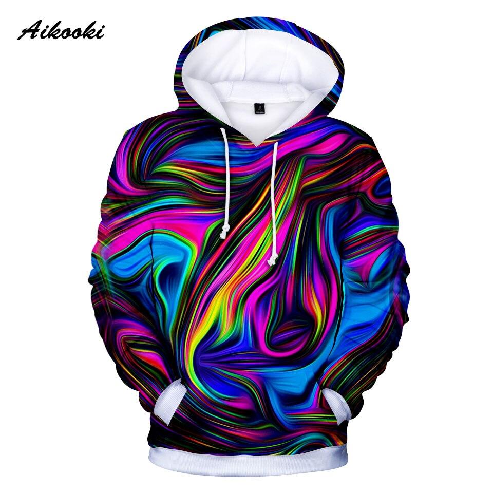 Tie-Dye Hoodies Sweatshirt Sweat-Tops Crewneck 3D Swirl-Pattern Hoondie Colorful Autumn