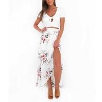 Skirts Womens Floral Sexy Split Up Maxi Half Skirt New Vintage Beach Long Boho Skirt H1