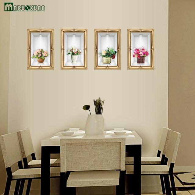 Maruoxuan 3d Stickers Muraux Salon Salle à Manger Décoration Murale  Peinture Chambre Vase Chaud Simulation Art