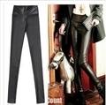 2015 Nuevas mujeres del Verano de Pantalones de la Cintura Marca de Moda Lmitation Cuero de Alta elástico Delgado Más Los Pantalones del Tamaño Tamaño Libre negro