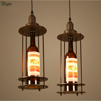 H47cm Retro Industrial 1 Light Creative Wine Bottle Pendant Light Painted Iron Led Loft Restaurant Cafe