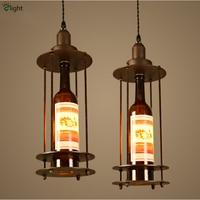 H47cm Retro Industrial 1 Light Creative Wine Bottle Pendant Light Painted Iron Led Loft Restaurant Cafe