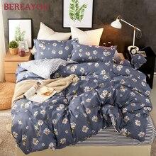 北欧漫画プリント寝具セット 3/4 個ブルーパターンベッドライニング子供ルームのベッドセット布団カバー枕ベッドシート
