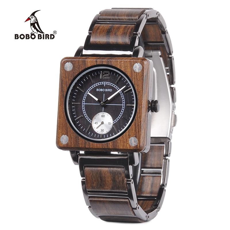 BOBO BIRD Men Watch Relogio Masculino Classic Wood Metal Wristwatch Creative Fashion Design Quartz Watches Handsome Gift C-R14