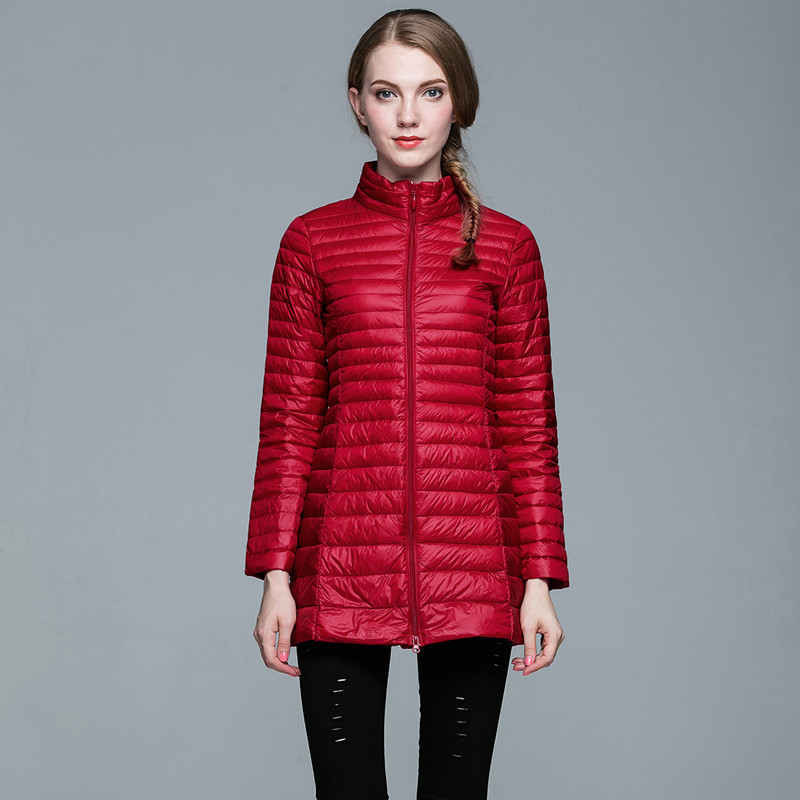 4XL Ladies Long Winter Warm Coat Women Ultra Light 90% White Duck Down Jacket With Bag Womens Overcoats Plus 8 Colors