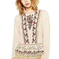 Women Beige Floral Embroidery Lace Stitching Blouses Female Elegant O Neck Long Sleeve Shirt High Quality