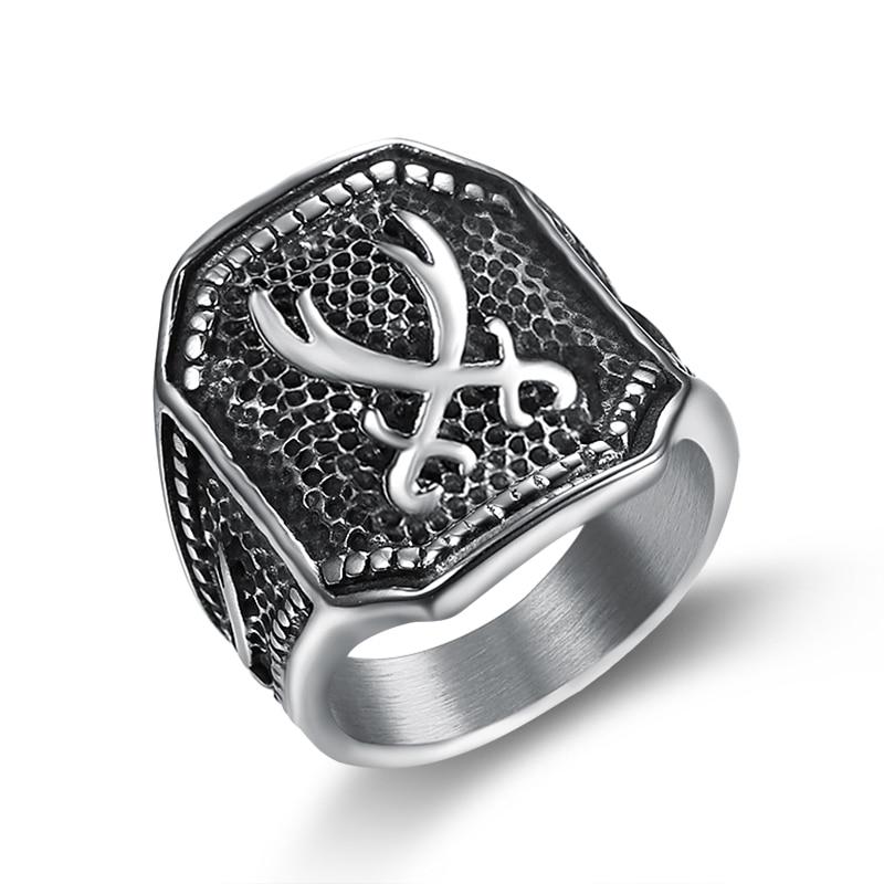 316 Stainless Steel Muslim Zulfiqar Sword Of Imam Ali Ring For Men Islam Retro Fashion Arab Jewelry Rings For Men Boys