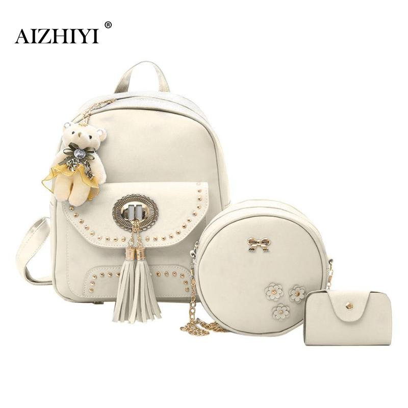 3pcs /Set Small Women Backpacks Tassel PU Leather School Bags For Teenager Girls Tassel PU Leather Women Backpack Shoulder Bag toposhine small rivet women backpacks fashion pu leather women shoulder bag rivet small ladies backpack girls school bags 1751