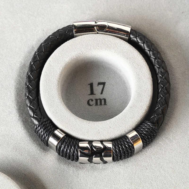 Mcilroy Vintage bransoletka ze skóry mężczyźni czarny pleciony pasek wielowarstwowy łańcuch liny zapięcie magnetyczne ze stali nierdzewnej człowiek biżuteria Homme