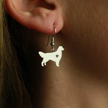 Мин 1 пара ювелирные изделия ручной работы золотые серьги ретривер шпильки серебро собака талисманы болтаются Шарм памятный день матери подарок для женщин