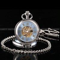 Moda Klasyczne Niebieskie Roman Mechaniczny Szkielet Powiększające Case Zegarek Kieszonkowy Prezent
