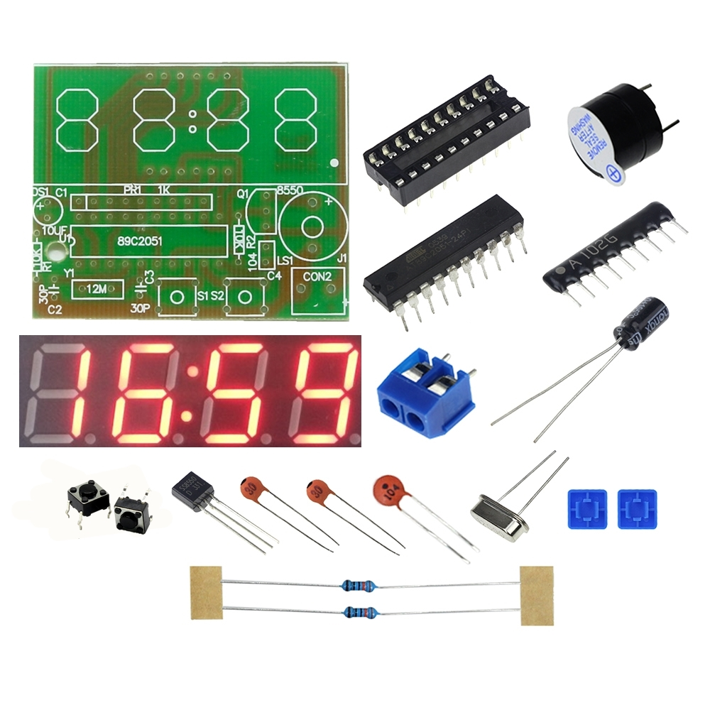 DIY Kit Digital LED Production Clock Kits C51 4 Bits Electronic ASS