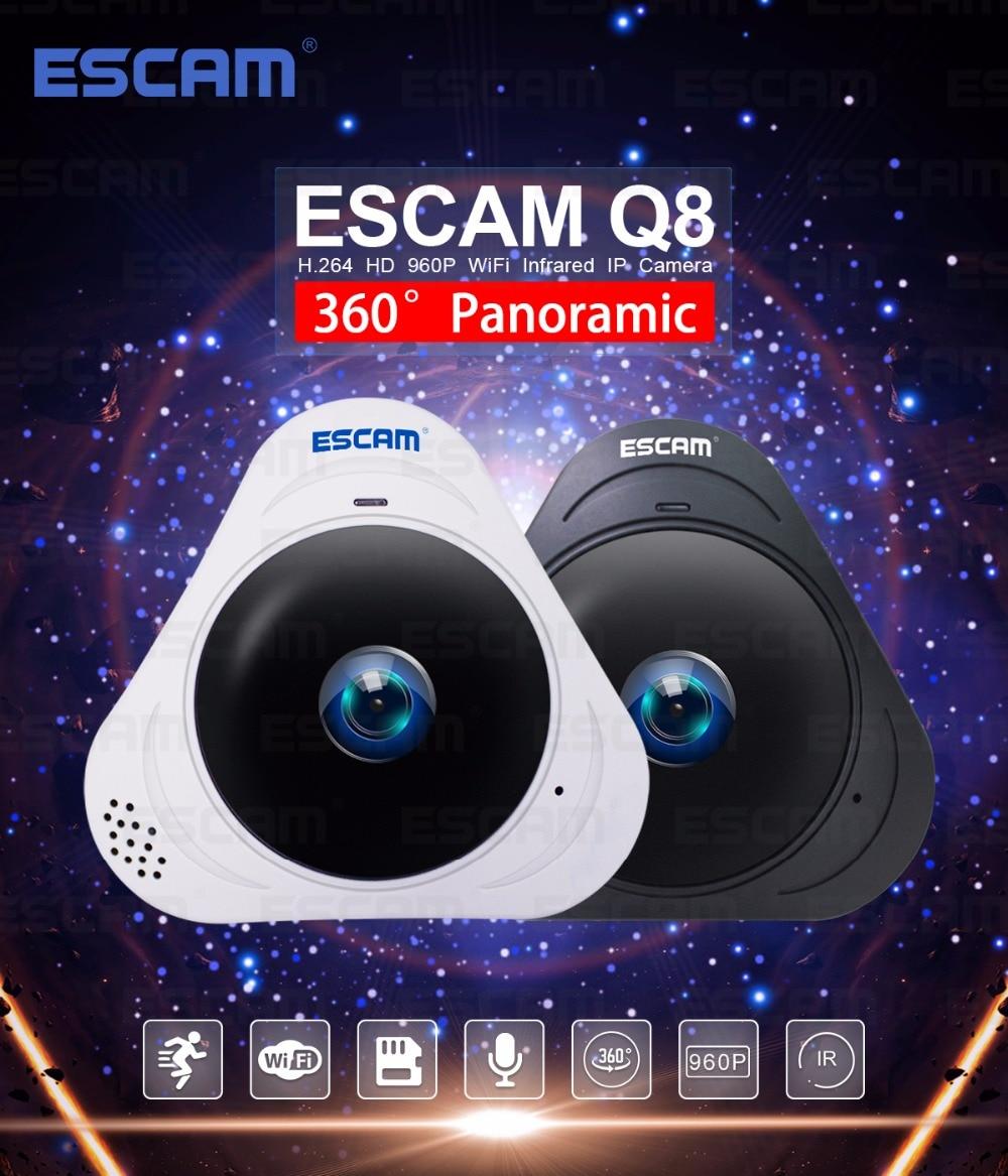 цена на ESCAM Q8 HD 960P 1.3MP 360 Degree Panoramic Monitor Fisheye WIFI IR Infrared Camera VR Camera With Two Way Audio/Motion Detector