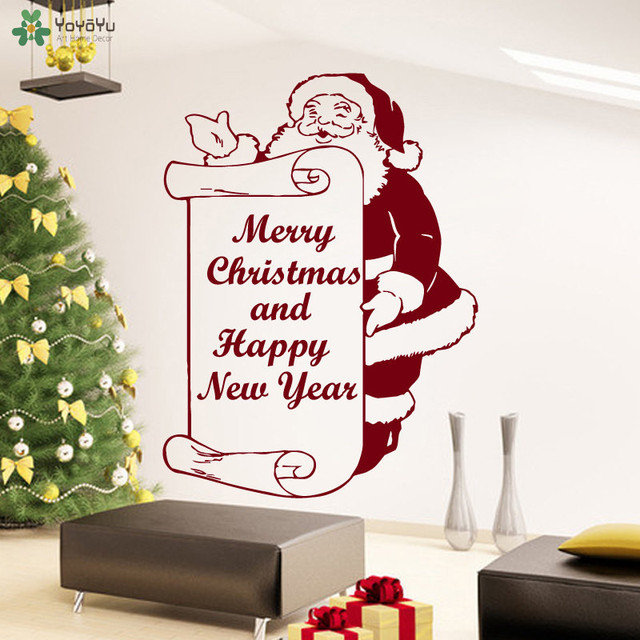 YOYOYU Merry Christmas Wall Decal Santa Claus Quotes Happy New Year Wall  Stickers Vinyl Home Decal