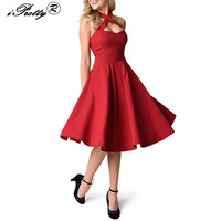 IPretty Women Sexy Halter Cross Vintage Dress Red Black Sleeveless Rockabilly Prom Vestidos Feminino Pin Up
