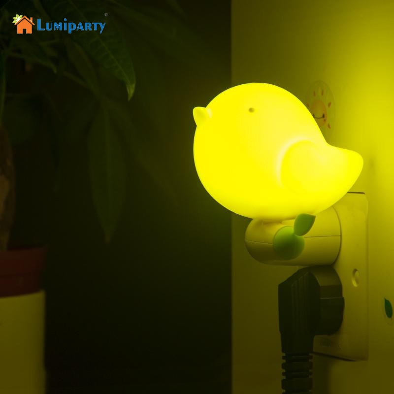 LumiParty New Lovely Bird Shape Design Smart Dusk to Dawn Light Control LED Night Light With Switch Baby Bedroom Indoor Lighting