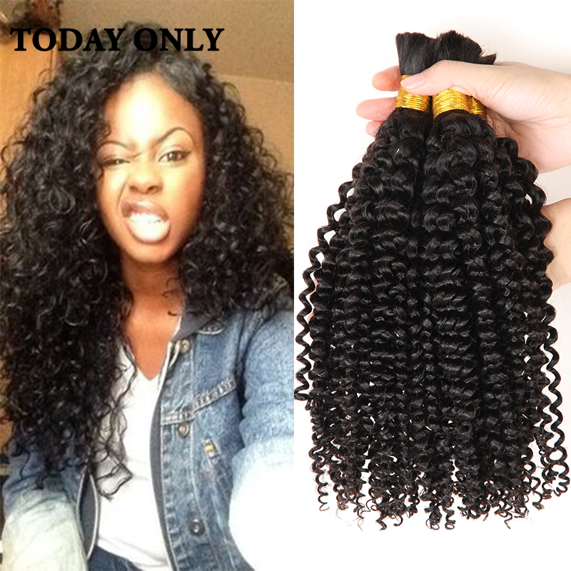 10a Brazilian Curly Virgin Hair Mink Bulk Human For Braiding No Weft In From