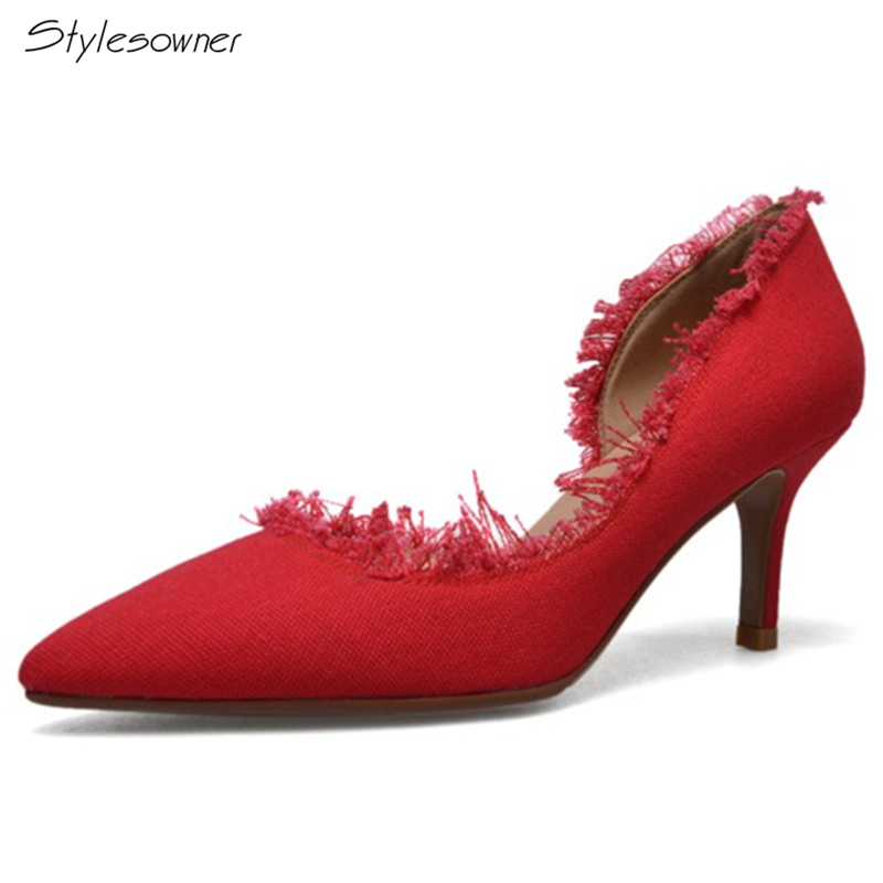 Stylesowner 2018 New Arrival Elegant Women Casual Slip On Pumps Pointed Toe High Quality Euramerican Thin Heels Party Shoes fletite top quality elegant embroidery 8 color women pumps pointed toe thin high heels 2018 new fashion luxury women shoes brand