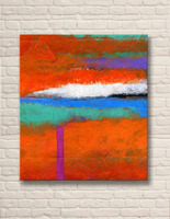 2015 Newest Design Red Color Abstract Oil Painting For Living Room Decoration No Frame