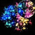 12 M 100led de la Secuencia Solar Luces de Cadena de Flor de Cerezo Colgante Decoración Parque coronas de Guirnaldas de Luces de Vacaciones de Jardín Al Aire Libre A Prueba de agua