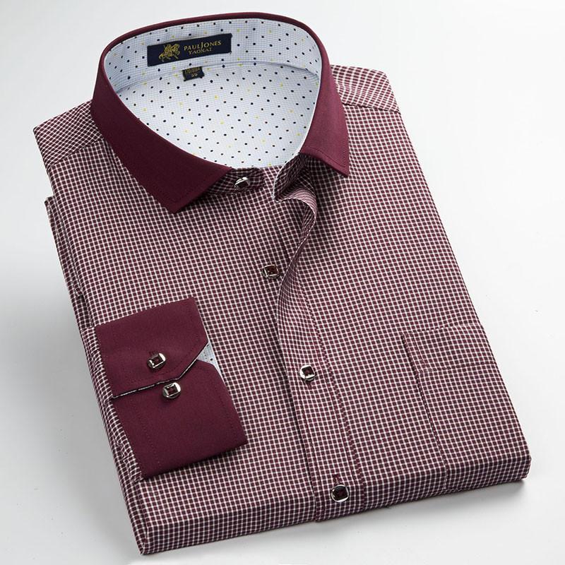 unisplendor 2019 Men 39 s Casual Plaid Shirt Long Sleeve Social Business Dress Shirts Men Slim Fit Shirt Plus Size S 4XL YN904 in Casual Shirts from Men 39 s Clothing