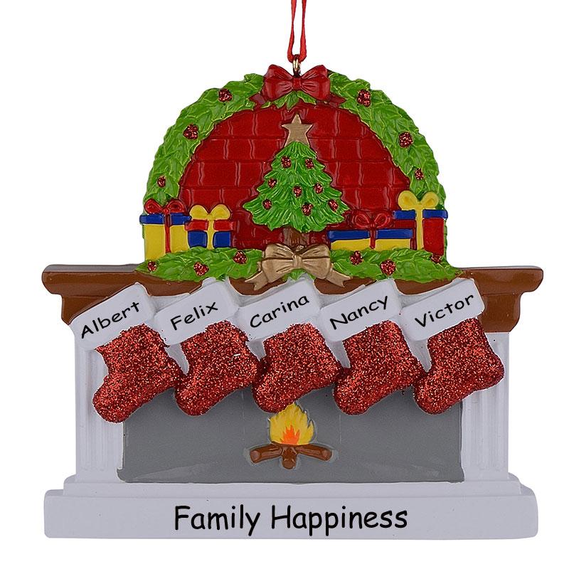 Polyresin Камін Sockings сім'ї з 5 - Святкові та вечірні предмети