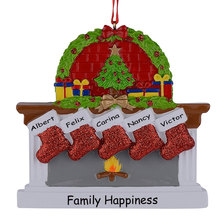Polyresin Fireplace Sockings Family Of 5 Christmas Tree Ornaments Personalized Gifts Write Own Name For Xmas Home Decor