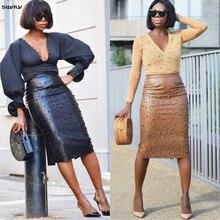 SWYIVY Women Leather Skirt Split Irregular 2019 Spring New Female Knee Length Skirts Solid Black Woman Elasticity
