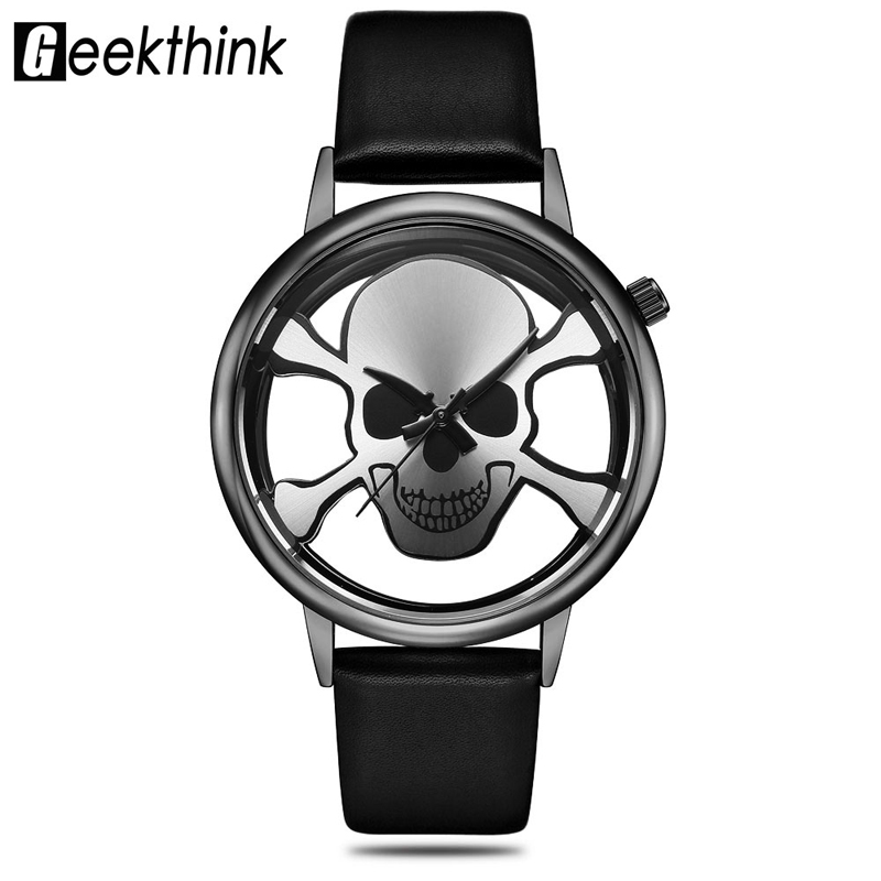 GEEKTHINK Fashion Design New Men Women Sports Watches Analog Quartz Wrist Watches Hollow Skull Unisex Clock Relogio Masculino cc крем secret key telling u cc cream