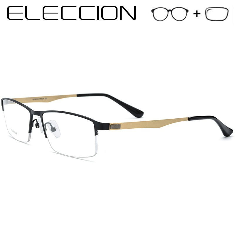 Titanium Alloy Myopia Prescription Eyeglasses Men's Glasses Optical 2018 Male Light Metal Square Half Frame Screwless Eyewear