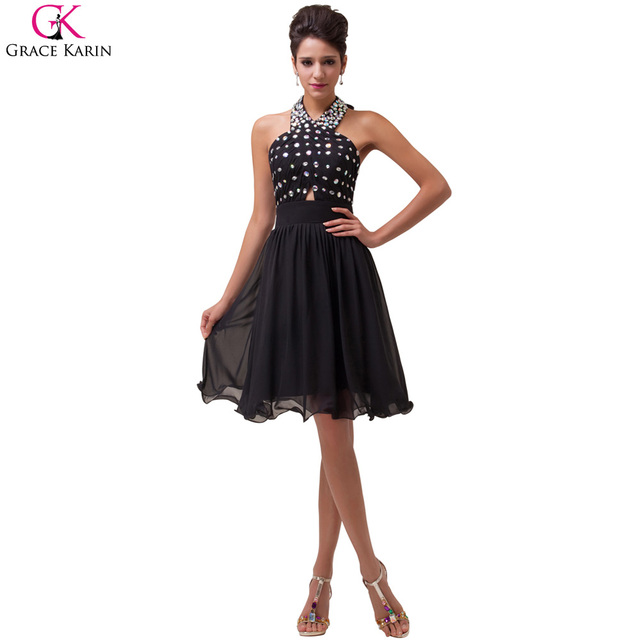 ea93f7ce0fa5 Grace karin corti abiti da sera halter bordante backless chiffon nero  vestito convenzionale elegante cena di
