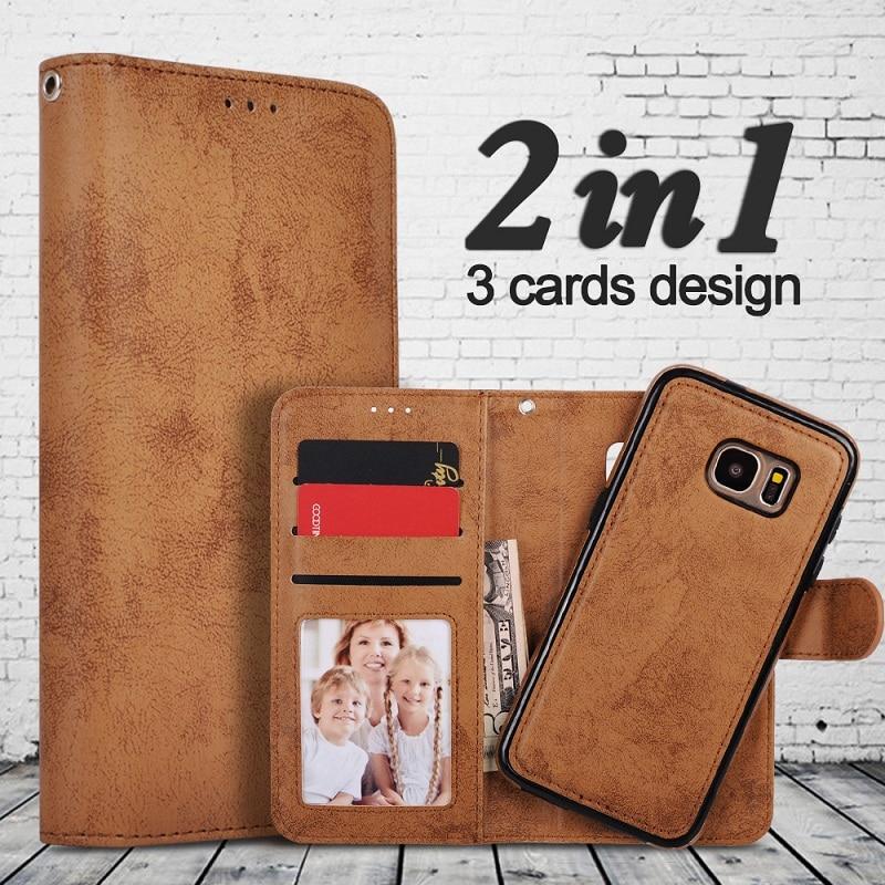 För Samsung Galaxy S8 Väska Flip Wallet 2 i 1 Avtagbar Retro Slim - Reservdelar och tillbehör för mobiltelefoner - Foto 1