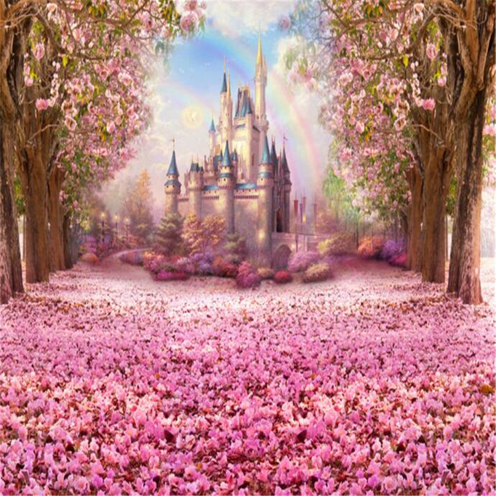 Cherry Blossoms Backgrounds for Studio Pink Flower Trees Petals Covered Road Rainbow Kids Princess Castle Photography Backdrops diy miniature pink cherry blossoms