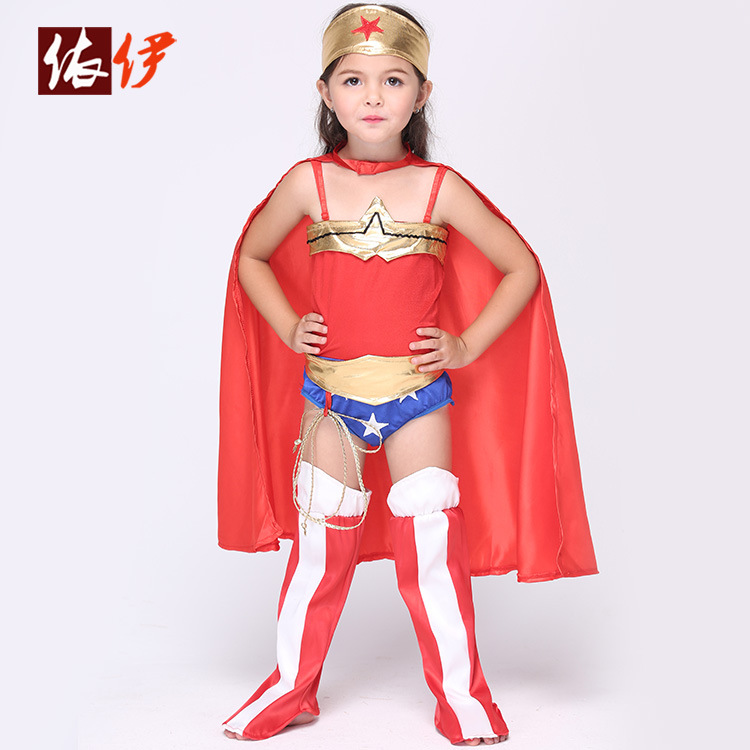 95-135cm Halloween children wonder woman clothing girls Cosplay animation costume play Superman Costume Dress