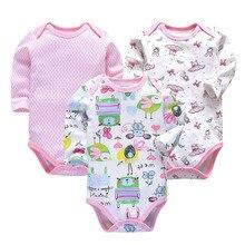 3 PCS/LOT Newborn Baby Clothing 2018 New Fashion Boys Girls Clothes 100% Cotton Bodysuit Long Sleeve Infant Jumpsuit