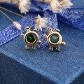 Summer Style bijoux Tortoise Earrings For Women Stud Earring brincos Green Crystal Outstanding Woman Jewelry