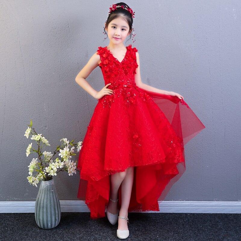 Красный для девочек в цветочек платья для свадьбы бальное платье принцессы с цветочным рисунком платье для выпускного вечера короткое спер...