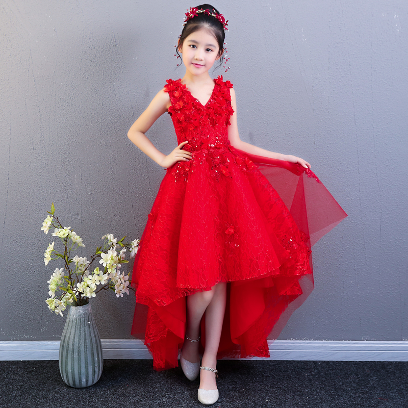Red Flower Girl Dresses for Wedding Ball Gown Floral Princess Prom Dress Short Front Long Back Kids Pageant Dress for Birthday