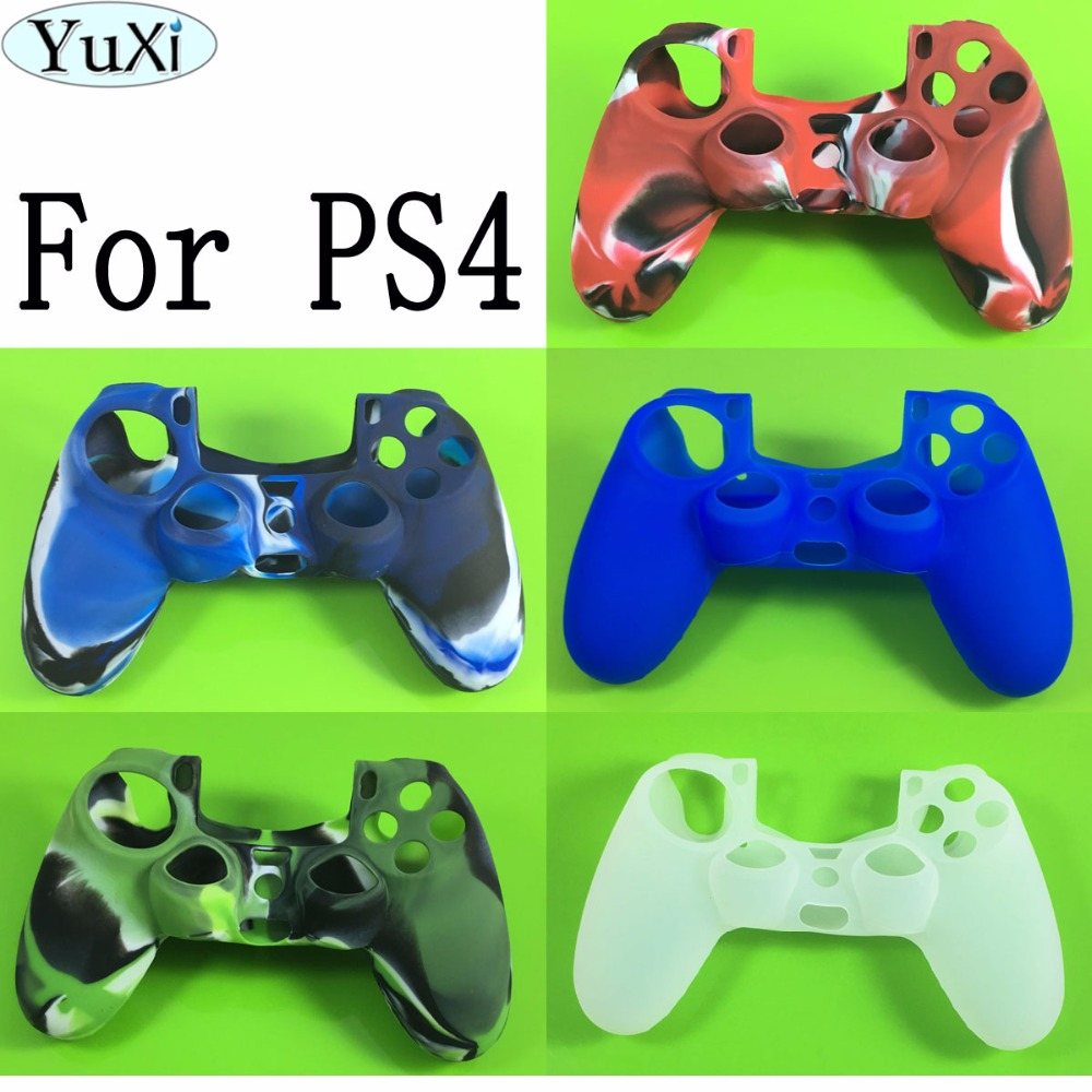 YuXi Soft Silicone Case Cover Protection Thumb Stick Cap for PS4 game Controller for sony Playstation 4 Case for game accessorie