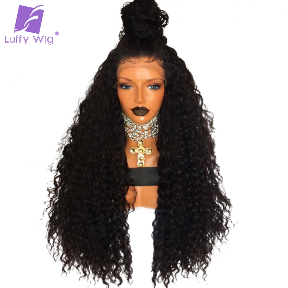 Luffy 180% Density Brazilian Non Remy Human Hair 13*6 Curly Lace Front Human Hair Wigs For Black Women 24 Inches Natural Color