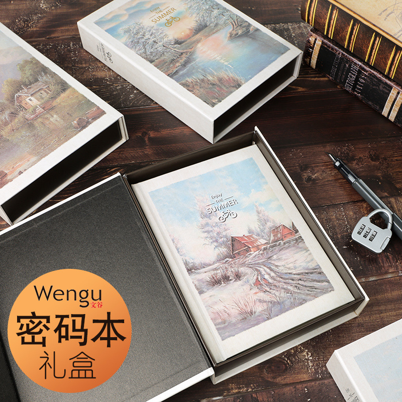 Password Book With Lock Korean Creative Color Page Illustration