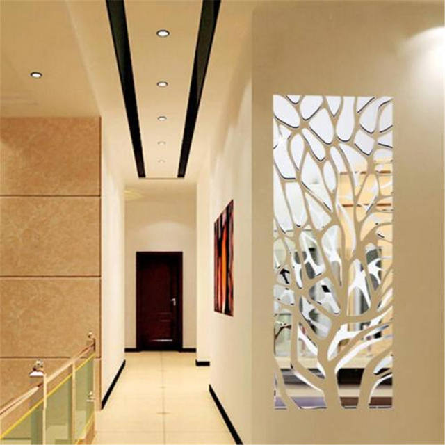 Mirror Acrylic Modern Geometric Home Decorative Art Diy Wallpaper Living Room Wall