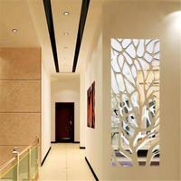 3D Spiegel Acryl Moderne Geometrische Hause Acryl Dekorative Spiegel Kunst DIY Tapete Home wohnzimmer Wand-dekor silber