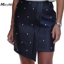 MayHall Beading Black Split Short Skirts Asymmetric Women 2018 summer PU Leather Pencil Skirt Vintage High Waist Bodycon MH039