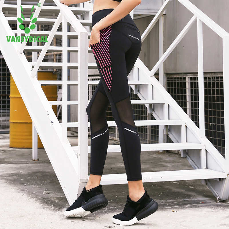 Vansydical Womens Running Tights Mesh Yoga Pants High Waist Fitness Gym Leggings Female Compression Sports Pants with Pockets